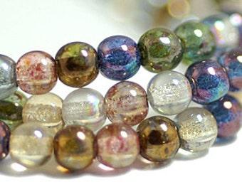 Transparent Lustre Mix 3mm Round Czech Glass Beads x 100