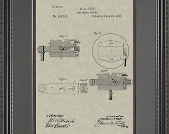 Gas Motor Engine Patent Artwork Auto Mechanic Gift O5701