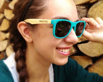 Wooden sunglasses - blue wayfarer (opaque)