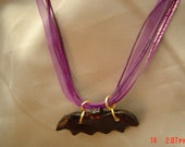 Bats in flight air dried clay painted black purple Ribbon Chain 14inches OOAKHandmade JewelryGoldtone jumprings OOAK Handmade earrings