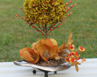 Beautiful  Fall/Winter Marigold Topiary with Peonies