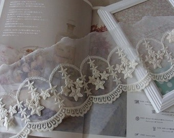 1 yard Embroidery Tulle Lace Lovely 3D Stars 12cm WD
