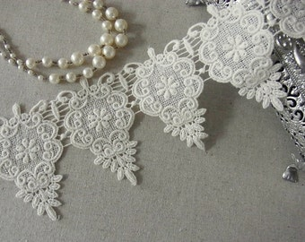 Vintage chic scalloped Embroidery Cotton Fabric Crochet Lace Trim #341