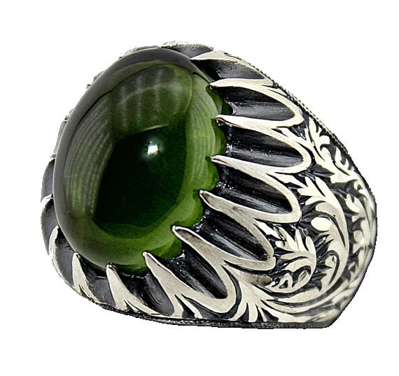 sterling silver 925 ring handmade emerald by