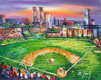 "Goldy Young - CHICAGO Wrigley Field AT NIGHT 20""x24"""