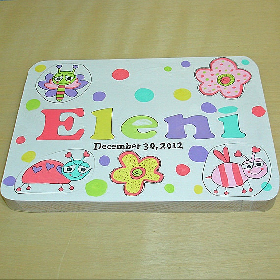 Personalized Toddler Wooden Tray Puzzle Whimsical Bugs