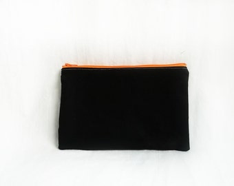 Makeup bag - Personalized Black Clutch - Bridesmaid clutches - Medium