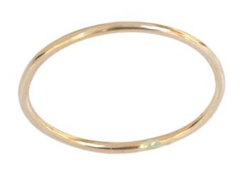 14k gold 1mm thin plain thumb ring