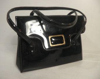 Vintage Black Vinyl Hand Bag / Purse / Elegant Fashion