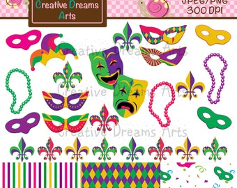 40% Off! Mardi Gras Digital Clip Art Instant Download