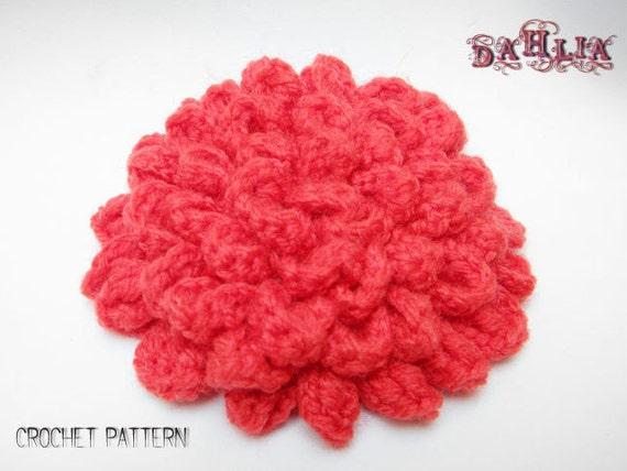 Crochet Pattern For Dahlia Flower : Items similar to CROCHET PATTERN: Dahlia Crochet Pattern ...