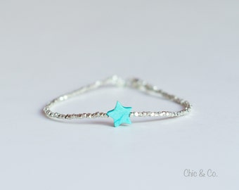 Turquoise Bracelet. Fine Silver Bracelet with Turquoise Star.