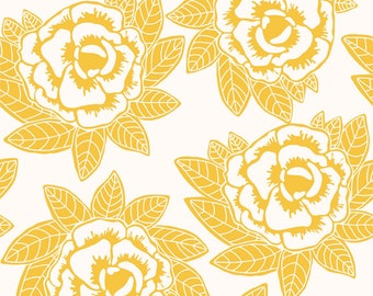 Rose Fabric -  Indie Main Yellow from the Indie Chic Collection by My Minds Eye for RIley Blake C3240 Yellow - 1/2 yard