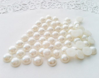 100 pcs 10mm cream flatback acrylic half pearl