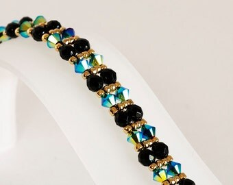 Crystal Bracelet - Seed Bead Bracelet - Beadwoven Bracelet in Jet AB2X Crystals, Black Fire Polished Beads, 22kt Gold Plated Seed Beads