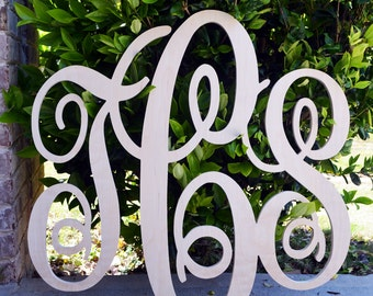 28X30 inch Wooden Monogram Letters. Great for weddings, birthdays, gifts, nursery and home decor