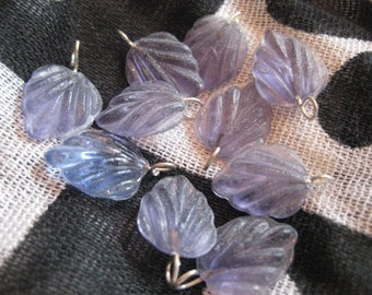 Dusty Lavender Leaves in Czech Glass Bead with Wire set of 10