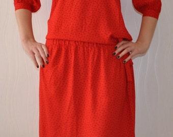 Vintage Red Dress Ribbon Applied