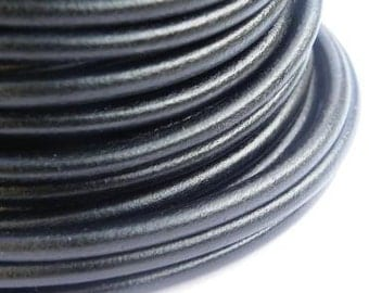 Black licorice leather cord 4.5mm, 1.5 meter