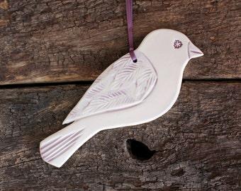 Ceramic Decorative Bird Handmade -  Sparrow Purple & White