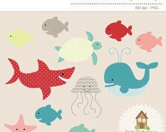 Ocean Clipart | Under the Sea Clip Art | Ocean Animal Graphics Set | Whale, Shark Clip Art | Personal, Commercial Use | Digital Scrapbooking
