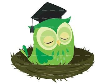 Owl Graduation Clipart Clip Art - graduation owl - graduation owl clip art - owl graduation - owl graphics - Personal and Commercial Use