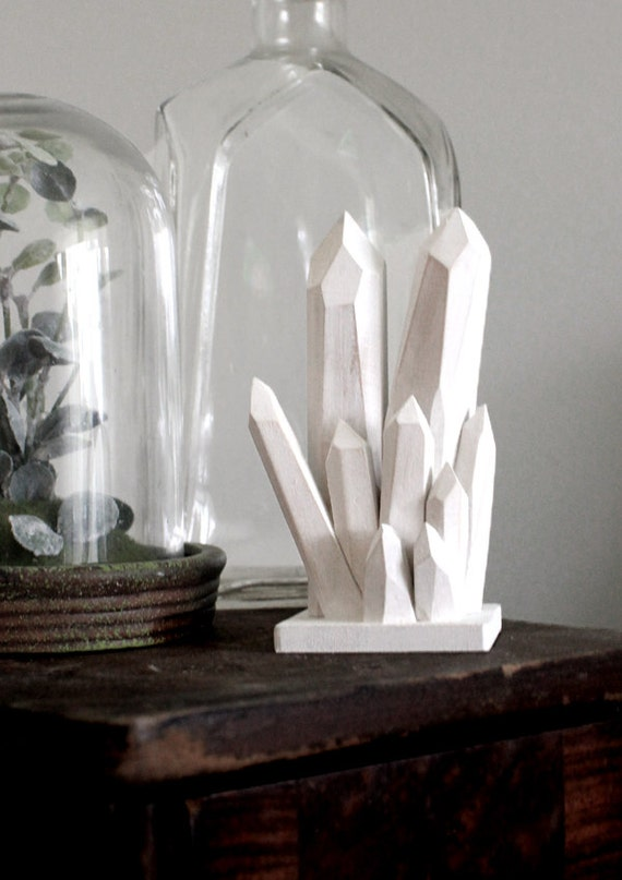 Handmade Faceted Wood Quartz Crystal Point Sculpture