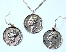 Battle of Waterloo Medal Necklace and Earrings Set in Fine English Pewter, Handmade, Gift Boxed