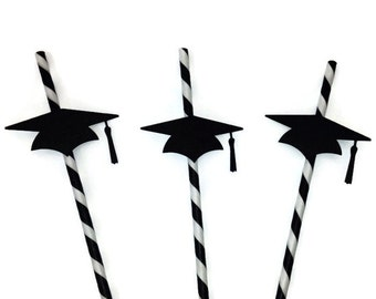 10 Paper Party Straws - Graduation Paper Straws