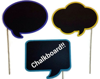 Photo Booth Prop -  Chalkboard Speech Bubble Prop - You Choose the Shape and Background Color