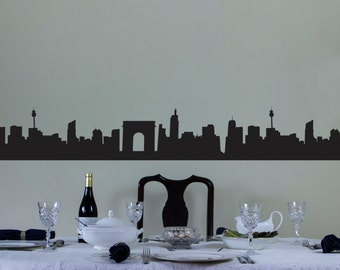 City Skyline Vinyl Wall Decal Border for Interior Design