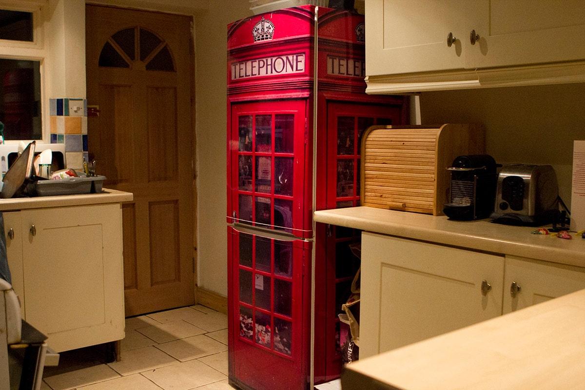 Fridgewrap Red Uk Telephone Box Vinyl Cover For Refrigerator