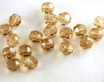 12x Light Topaz Round Swarovski Crystal Beads - B030