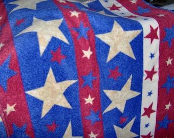 Patriotic Stars Stripes FULL or TWIN Fleece Blanket