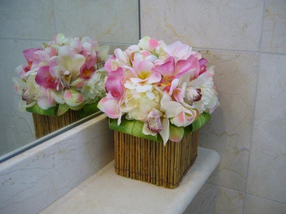 Orchid wedding centerpiece tropical silk flowers plumeria