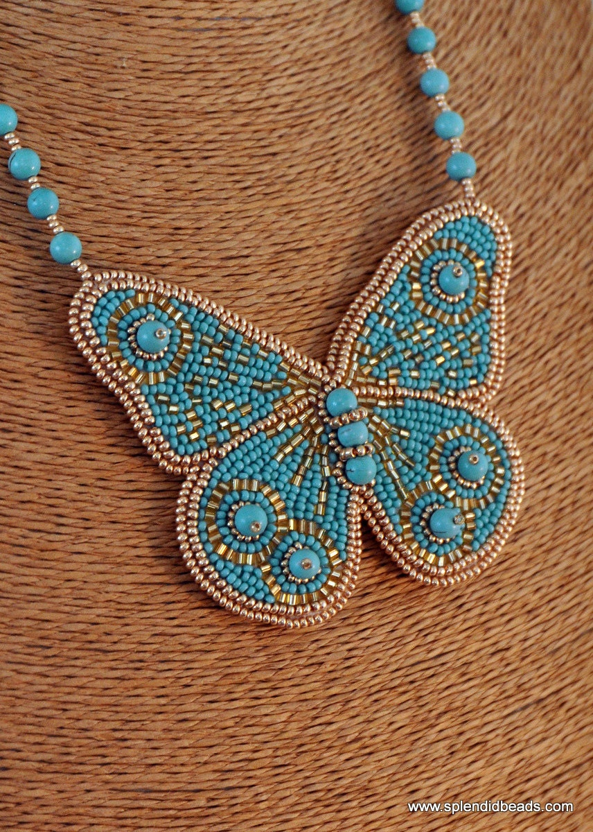Bead embroidery necklace turquoise and gold handmade