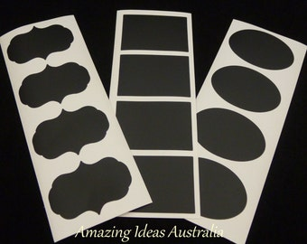 12 x Chalkboard Label (Mixed Decal - 5cm x 3.5cm) : Blackboard Wedding Gift Tag Stickers Australia