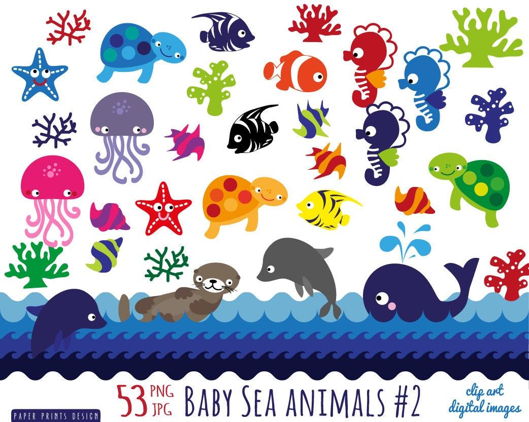 53 baby sea animals clipart sea animals by PaperPrintsDesign
