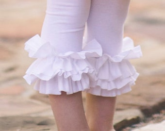 White Ruffle Leggings - Cute and Comfy girls cotton/knit double ruffle leggings, custome made in any size or color, Birthday, photos