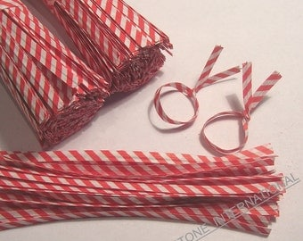 200 pcs 4 in Paper Twist Ties for cello bags - Red Stripe