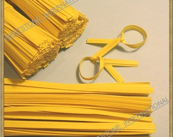 200 pcs 4 in Paper Twist Ties for cello bags - Yellow