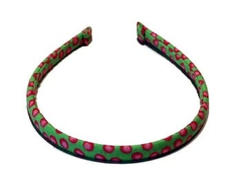 Girls or Ladies Lime Green w/ Pink Dots | Skinny Headband | Ready to Ship