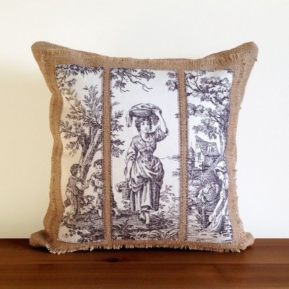 Natural Burlap and Appliqued Purple Toile Throw Pillow Covers