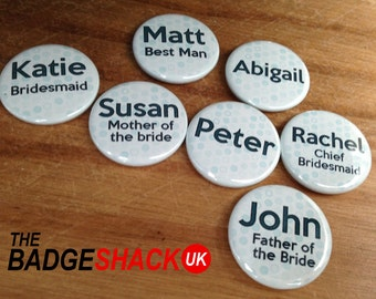 Personnalisé des badges pour mariage / soirée / événement (taille 3,8 cm de diamètre)