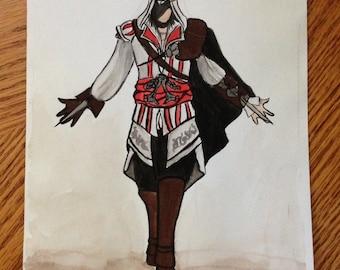Original Ezio Auditore Assassin's Creed 2 Watercolor Painting