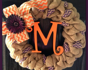 Chevron Burlap Wreath with Initial- Front Door Wreath- Wedding Gift- Monogram Wreath- Fall Wreath