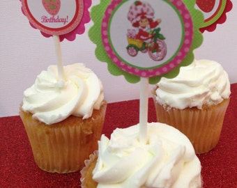 Strawberry Shortcake toppers, strawberry shortcake cupcake toppers , strawberry birthday toppers