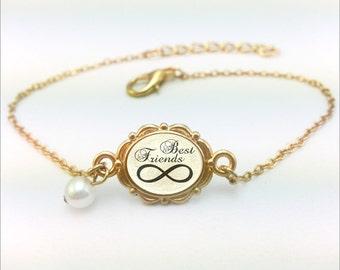 Best Friends Bracelet, Best Friends Infinity Bracelet, Custom initial bracelet, Gold infinity gift bracelet, Best Friends Infinity Gift
