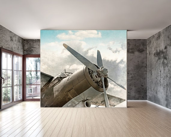 wall mural vintage old airplane wall paper repositionable