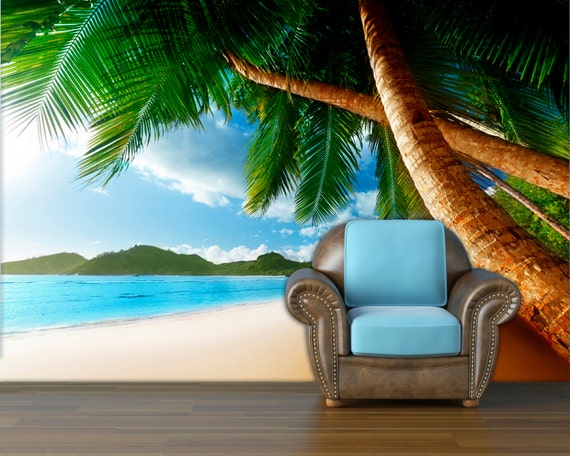 Items similar to sunset on beach wall mural wall decal for Beach sunset mural